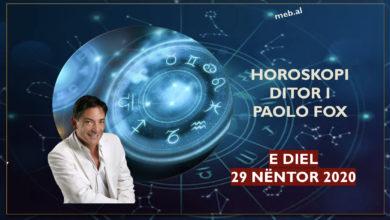 Photo of Parashikimi i PAOLO FOX për ditën e diel, 29 nëntor 2020