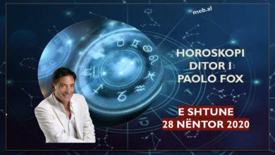 Photo of HOROSKOPI / Parashikimi i PAOLO FOX për ditën e shtunë, 28 nëntor 2020